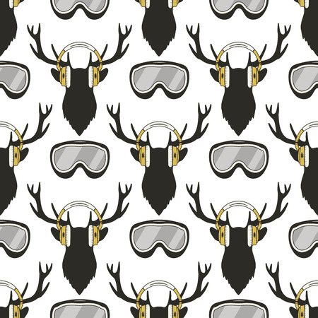 Christmas deer pattern. Funny Reideer in headphones and ski, snowboard goggles. Xmas winter seamless background. Stock illustration isolated on white