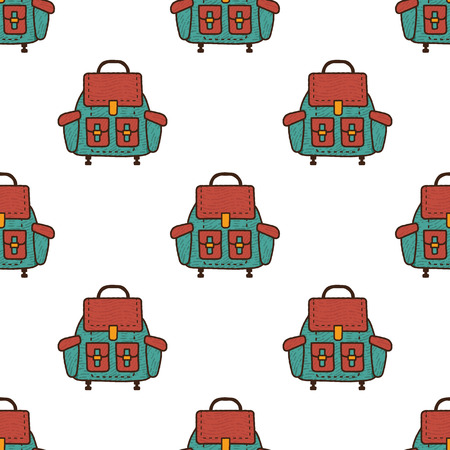 Backpack flat seamless pattern. Rucksack symbols wallpaper. Camping elements background. Stock illustration Stock Photo