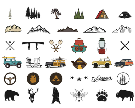 Vintage hand drawn adventure symbols, hiking, camping shapes of backpack, wild animals, canoe, surf car, backpack. Retro monochrome design. For t shirts, prints. Stock silhouette icons isolated