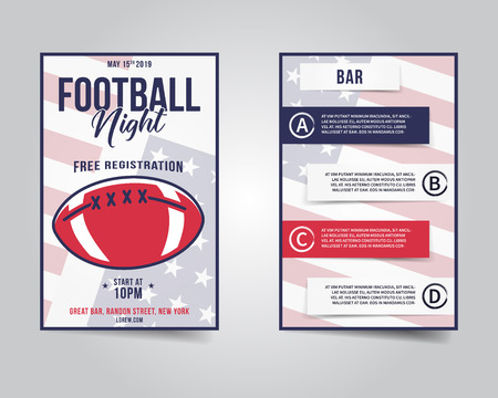 American football flyer. Sports party night layout, brochure. Modern professional poster. Rugby game event invitation. Stock template isolated on grunge background Stock Photo