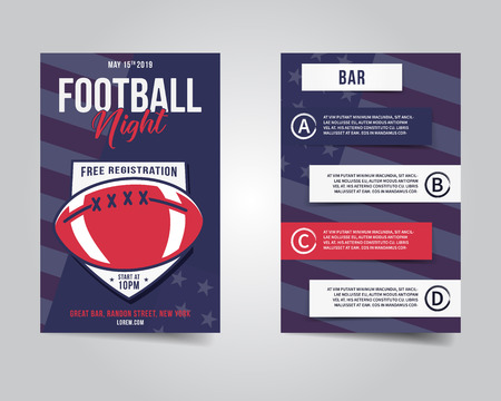 American football flyer. Sports party night layout, brochure. Modern professional poster. Rugby game event invitation. Stock template isolated Stock Photo