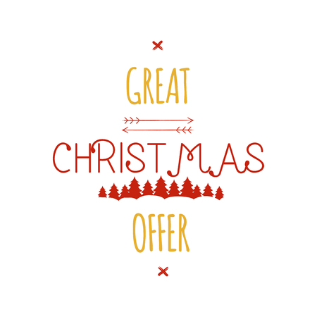 Great Christmas Offer typography overlay. Xmas sale lettering. Holiday Online and offline shopping type quote. Seasonal discounts color emblem. Stock illustration isolated on white background Stock Photo