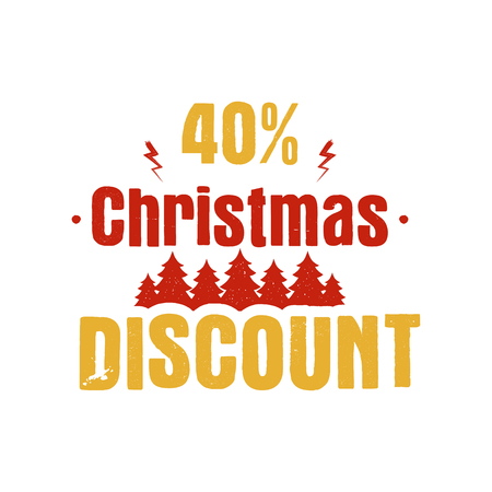 Christmas discount typography overlay with trees and 40 off. Xmas offer lettering emblem. Holiday Online and offline shopping type quote. Stock illustration isolated on white Stock Photo