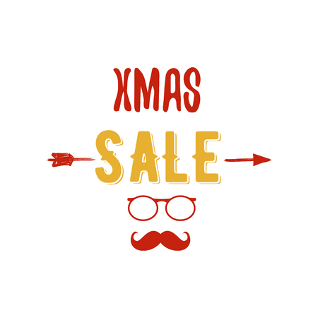 Xmas Sale typography overlay with arrow, Santa glasses and beard. Christmas offer lettering emblem. Holiday Online and offline shopping type quote. Stock color illustration isolated on white Stock Photo