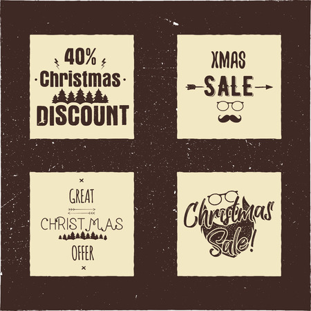 Christmas sale and discount typography cards with trees and Santa. Xmas season offers lettering emblems. Holiday Online and offline shopping type quotes. Stock illustrations isolated.
