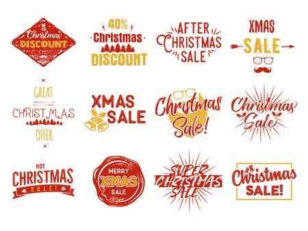 Christmas sale lettering and xmas calligraphy set. Typography elements collection. Holiday Online shopping type quotes. Stock seasonal sales oberlays isolated on white background Stock Photo