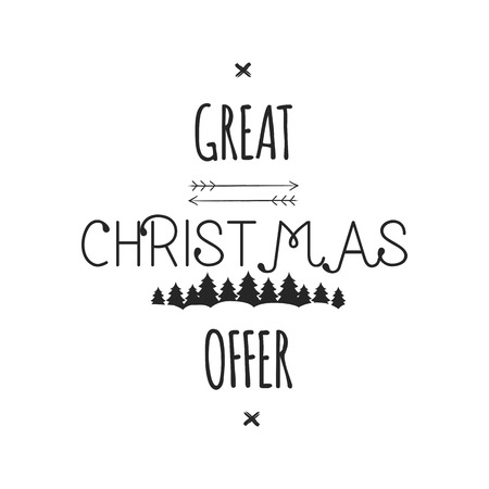 Great Christmas Offer typography overlay. Xmas sale lettering. Holiday Online and offline shopping type quote. Seasonal discounts emblem. Stock illustration isolated on white background.