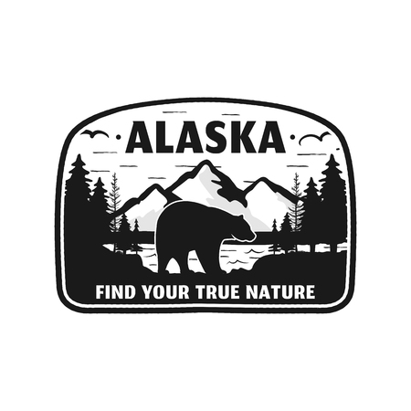 Alaska badge design. Mountain adventure patch. American travel . Cute retro style. Find your true nature custom quote. Bear walking through the forest. Stock silhouette emblem Фото со стока