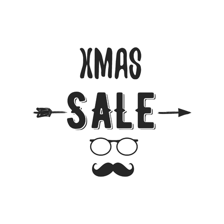 Xmas Sale typography overlay with arrow, Santa glasses and beard. Christmas offer lettering emblem. Holiday Online and offline shopping type quote. Stock illustration isolated on white