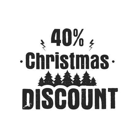 Christmas discount typography overlay with trees and 40 off. Xmas offer lettering emblem. Holiday Online and offline shopping type quote. Stock silhouette illustration isolated on white