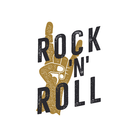 Vintage hand drawn rock n roll poster. Music t shirt print design. Musical tee graphics with hand sign and typography quote. Stock isolated on white background. Stock Photo