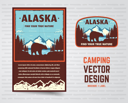 USA poster and badge. Alaska with mountains, bear and forest landscape. Vintage flyer design. Stock vector illustration isolated on white background. Stockfoto - 112898442