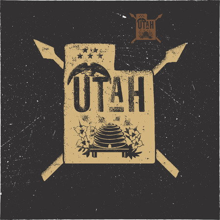 Retro Utah poster with local symbols. USA state badge isolated on distressed background. Perfect for t-shirt, patch, prints. Stock vector illustration isolated on white background