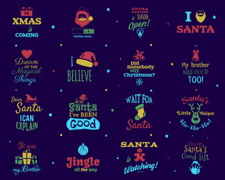 Christmas quotes set. Funny xmas and happy new year typography arts. Trending colors. I love santa signs etc. Stock vector illustration isolated on dark background.