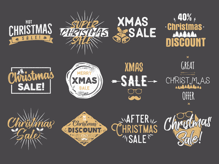 Merry Christmas sale overlays. New Year discounts quotes set. Funny xmas typography arts. Trending colors. Stock vector illustration isolated on dark background. Illustration