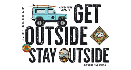 Travel badge design. Outdoor adventure with camping quote - Get Outside Stay Outside. Included Surf car and wanderlust patches. Unusual hipster style. Stock vector isolated on white Banque d'images - 113852929
