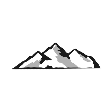 Mountain silhouette shape. Outdoor icon isolated on white background. Stock vector symbol.