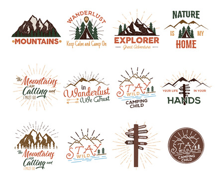 Travel badges set. Vintage hand drawn camping . Mountain expedition designs. Outdoor hike emblems, t-shirts prints. Camp phrases and sayings. Stock vector patches isolated on white.