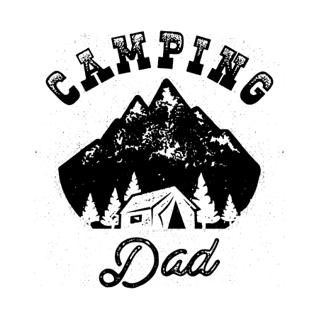Camp Silhouette Badge with quote Camping Dad and Mountains, house in the forest. Nice for Fathers Day as gift, t-shirt, print. Stock vector isolated on white Illustration