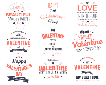 Valentines day cards collection. Typography overlay design elements for holiday scrapbooking, gift cards, t-shirts, other prints. Stock vector emblems isolated on white background.