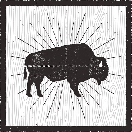Bison icon silhouette. Retro letterpress effect. Buffalo symbol with sunbursts isolated on retro background card. Use for steak house , infographics, . Vector design Ilustracja