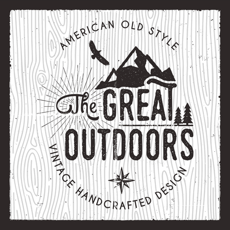 The Great Outdoors card. Wanderlust Camping badge. Old hand drawn t shirt Print Apparel Graphics. Retro Typographic Custom Quote Design. Textured Stamp effect. Vintage camp style. Stock Vector emblem