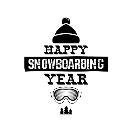 Happy Snowboarding Year - Snowboard tee graphic design, winter . For mountains adventurer, snowboarders, winter extreme sports fans. For t-shirt, mug other prints. Stock vector isolated Illustration