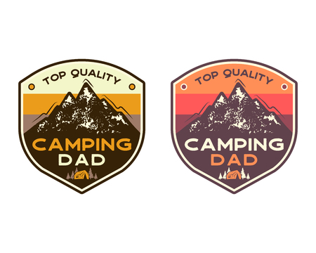 Mountain Camping Badges with quote Top quality camping dad. TRavel patch design. Nice for Fathers Day as gift, t-shirt, print. Stock vector stamps set isolated on white.