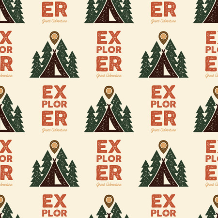 Camping Explorer Pattern Design - Outdoors Adventure seamless background with tent, trees. Distressed style. Nice for camping enthusiasts, for tee, apparel, packaging, other prints. Stock vector Illustration