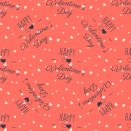 Valenines pattern. Happy Valentine Day typography quotes and hearts. Trending living coral 2019 colors palette. Holiday seamless design. For gifts packaging, textile prints. Stock vector.