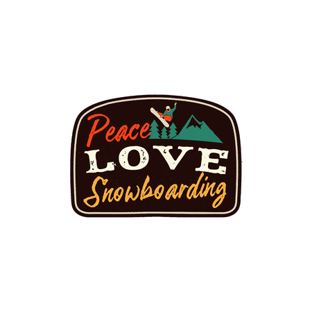 Snowboarding retro logo with quote - Peace Love Snowboarding. Mountain Explorer Badge. Camping adventure emblem. Featuring snowboarder jumping over the peak and trees. Stock vector isolated on white