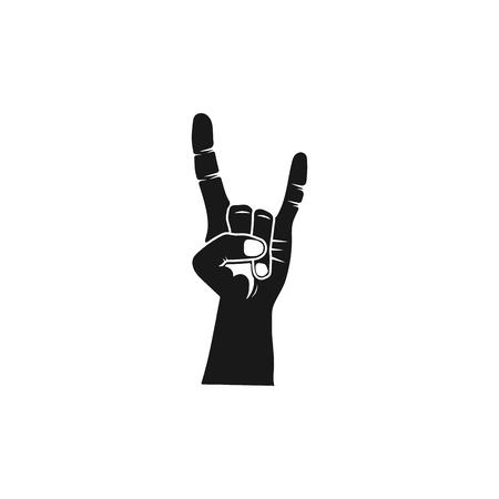 Main de silhouette de rouleau de roche. Icône noire en métal lourd. Symbole de musique dure vecteur stock isolé sur fond blanc