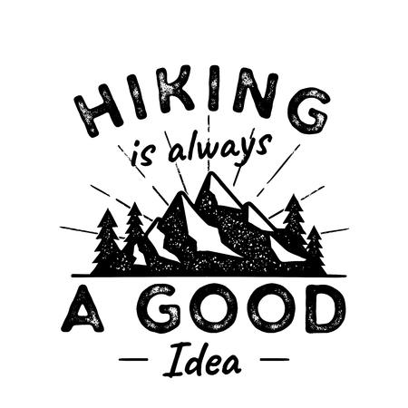 Illustration de logo d'aventure de randonnée. La randonnée est une bonne idée. Mettant en vedette des montagnes, des arbres, des rayons de soleil. Idéal pour les amateurs de camping, pour t-shirt, mug et autres imprimés. Emblème de vecteur stock isolé sur blanc Logo