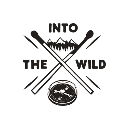 Into the Wild - Outdoors Adventure Silhouette Badge with mountains, compass, matches symbols. Nice for camping enthusiasts, for t-shirt, mug or posters or other prints. Stock vector isolated on white