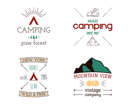 Mountain camping logos set. Hand drawn hiking travel badges, wildlife emblems. Explorer labels concepts. Wanderlust illustrations. Stock vector patches isolated on white background Illustration