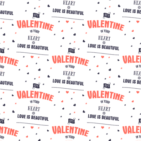 Valenines Day pattern. It s valentine in your heart typography quotes and hearts. Trending living coral 2019 colors palette. Holiday seamless design. For gifts packaging, textile prints. Stock vector.
