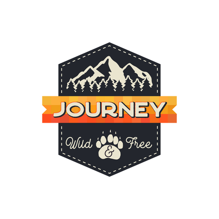 Moutnain Journey Badge. Wild and Free Logo. Camping adventure emblem in retro style. Featuring mountains and forest. Stock vector hiking label isolated on white background