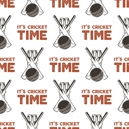 Seamless pattern with Cricket elements. Sports pattern wallpaper. Vector isolated Illustration on white background for packages product, t-shirts and other design