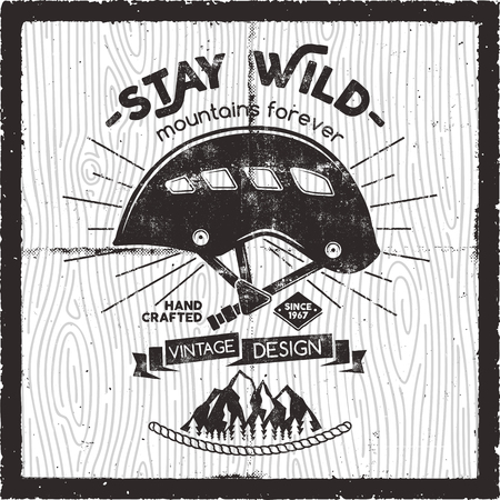 Retro travel poster design - Stay wild mountains forever quote. Old school Hand Drawn t Shirt Print Apparel Graphics. Typographic Custom text. Textured Stamp effect. Vintage Style. Vector Illustration 向量圖像