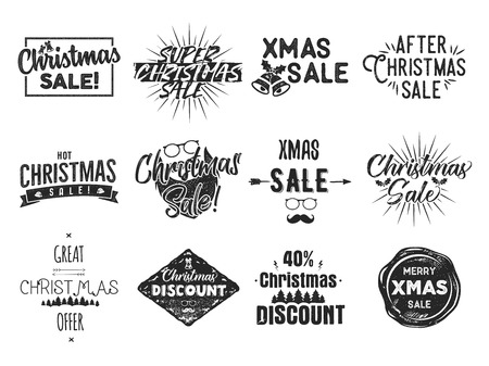 Christmas sale lettering and xmas calligraphy set. Typography elements collection. Holiday Online shopping type quotes. Stock seasonal sales vector black overlays isolated on white background Illustration