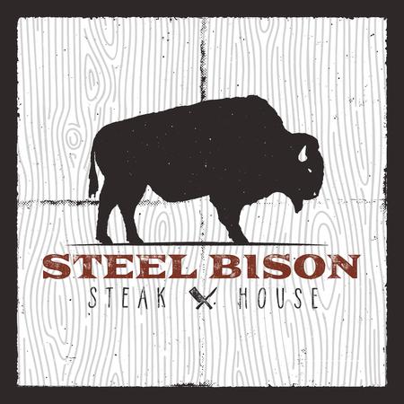Steak House logo. Vintage typography design with bison and bbq kitchen knives. Retro vector emblem, illustration logo or poster. Good for t-shirt, apparel, prints