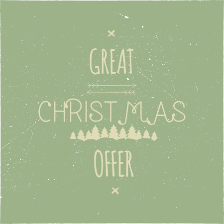 Great Christmas Offer typography overlay. Xmas sale lettering. Holiday Online and offline shopping type quote. Seasonal discounts color emblem. Stock vector illustration isolated on dark background Illustration