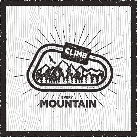 ヴィンテージアドベンチャーカード.すべての山の引用符を登ります。レトロな手描きのモノクロ旅行バッジ、パッチ。山、森、ワシが特徴です。ストックベクターハイキング、ワンダーラスト記章エンブレム