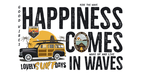 Surfing badge design. Outdoor adventure logo with camping travel quote - Happiness comes in waves. Included retro woodie surf car and wanderlust patches. Unusual hipster style. Stock vector isolated