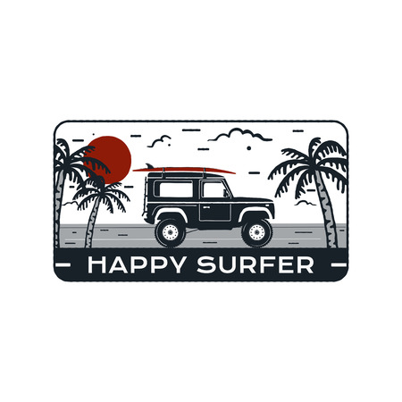 Surfing Logo Emblem. Vintage hand drawn travel badge, poster. Featuring surf car riding on the beach and sea landscape. Happy Surfer quote. Stock vector summer silhouette insignia