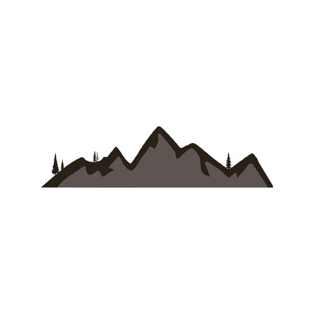 Mountain silhouette shape symbol. Outdoor icon isolated on white background. Stock vector element for  creation Illusztráció
