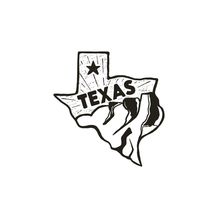 Vintage hand drawn Texas badge state badge, United States. Silhouette style icon, logo. Featuring mountains and star. Retro patch, logotype. Nice for T-Shirt prints, stamp. Stock vector isolated