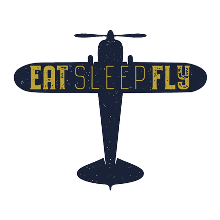 Flight poster - Eat sleep fly quote. Retro monochrome style. Vintage hand drawn airplane design for t-shirt, mug, emblem or patch. Stock vector retro illustration with plane and text  イラスト・ベクター素材