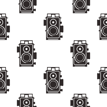 Silhouette old camera pattern. Vintage cameras in monochrome style, geometric seamless wallpaper for textile prints, apparel, t-shirt etc. Stock vector retro styled background isolated on white