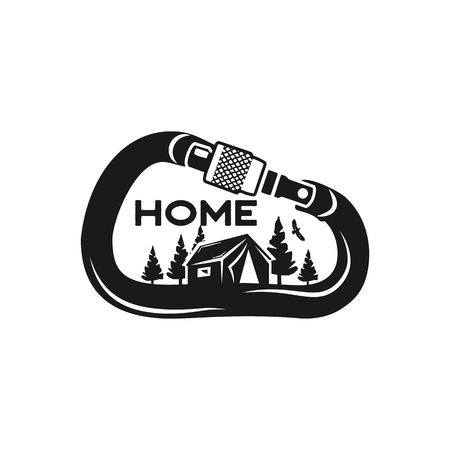 Camping Wildlife Badge. Mountain climbing and forest adventure emblem in monochrome retro style. Featuring tent, trees and eagle inside the carabiner. Stock vector hiking logo isolated on white